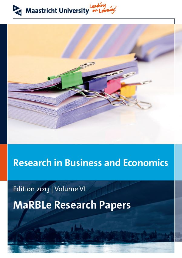 View Vol. 6 (2013): Research in Business and Economics - MaRBLe Research Papers