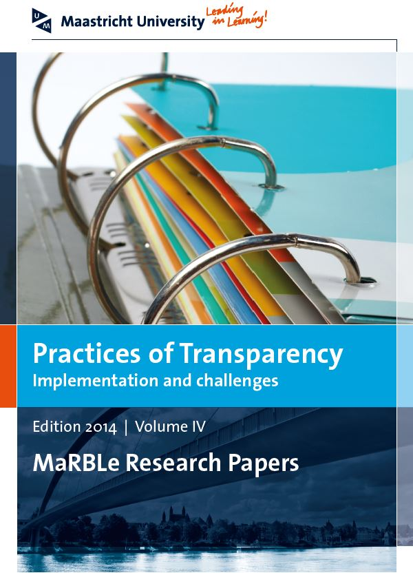 View Vol. 4 (2014): Practices of Transparency - Implementation and challenges